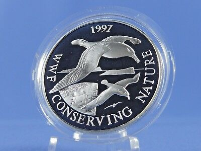 Falkland Islands 50 Pence 1997 ,WWF  Albatrosse   ,Silber *PP/Proof* (10613)