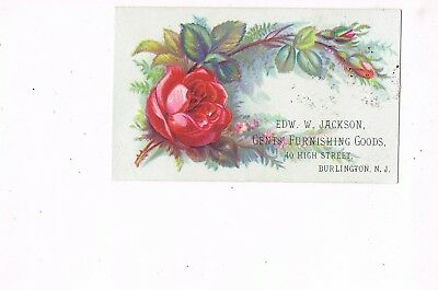 VICTORIAN ADVERTISING / TRADE Card    EDW. W. JACKSON  -  BURLINGTON, NJ