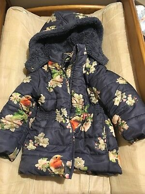 Girls Winter Coat Jacket Jack And Milly Blue Floral size 3