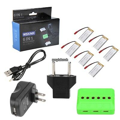 6 in 1 Balance Charger 6Pcs 750mAh 25C 3.7V Battery For JJRC H12C DFD RLWH02