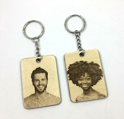 Personalised Custom Photo Portrait Wooden Engraved Keyring  fob Family Mum Dad