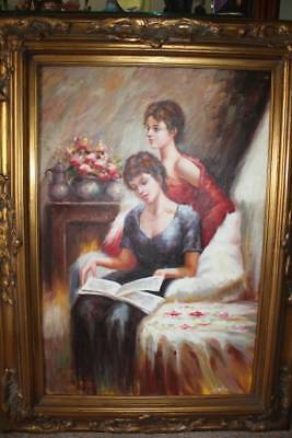 STUNNING antique large Oil on Canvas painting ornate gold gilded frame SIGNED