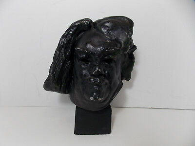 Sculpture de Balzac Head Bust Alexis Rudier A Rodin (Resin?) - PARIS FOUNDRY
