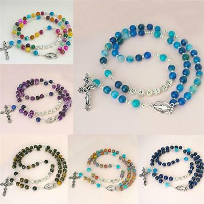 Personalised Rosary Beads with ANY Name, Gemstones. First Holy Communion Gift