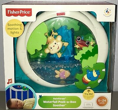 Fisher Price Rainforest Waterfall Peek-a-Boo Soother Crib Toy Lights Music 0-24