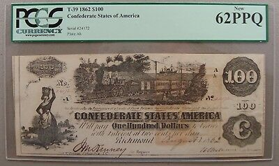 1862 T-39 Confederate $100 Note PCGS New 62PPQ