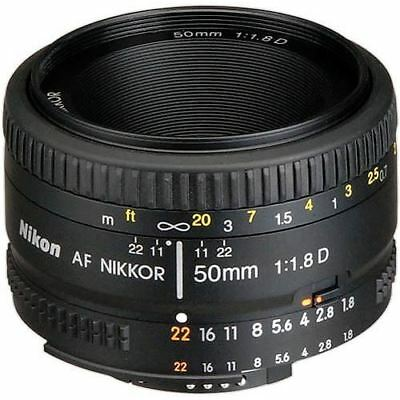 Nikon AF Nikkor 50mm f/1.8D Autofocus Lens for Nikon DSLR Digital Camera RR