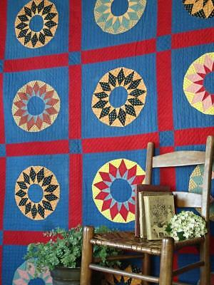 """Fantastic! Large ANTIQUE c1880 QUILT 93"""" x 92"""" Blue Red Sunflowers  """"Noon Day"""""""