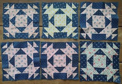 Antique Early 1900s Set of 6 Beautiful Indigo Blue & floral Print Quilt Blocks