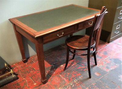 Antique Oak Desk, Arts & Crafts, Two Drawer Writing Table.