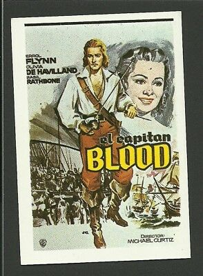 Errol Flynn Captain Blood Vintage 1984 Spanish Movie Film Collector Card