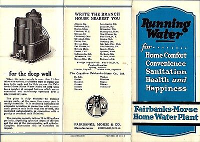Vintage Circa 1920 Fairbanks Morse Home Running Water Plant Brochure