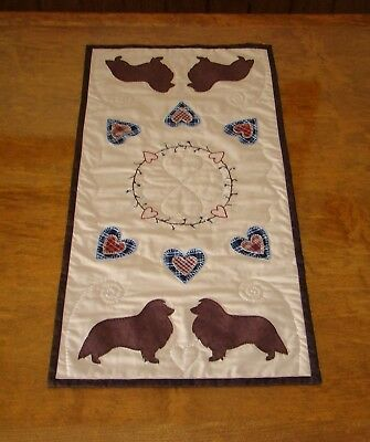 Sheltie Handmade Table Runner Candle Mat Hand Quilted Embroidered Appliques