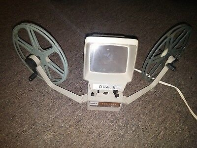 Vintage Baia Dual 8 Reviewer for Viewing & Editing 8mm Film (w/ 2 Reels & Bulb)