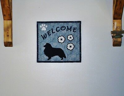 Sheltie Welcome Hand Quilted Table Runner Wall Hanging Handmade Flower Appliques