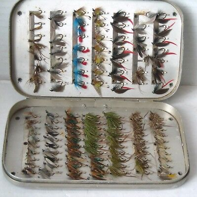 WHEATLEY FLY BOX with 119 TROUT FLIES/LURES & HARDY OVAL on BOX for FLY FISHING