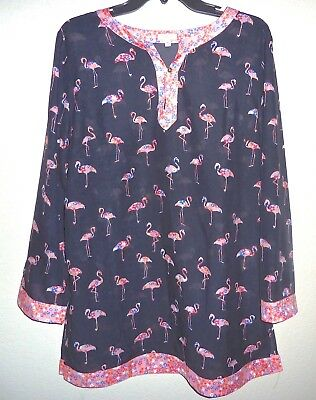 NEW Talbots Navy Floral Flamingo Print Tunic Top/Swim Cover Up M/L