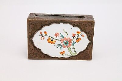 Antique Chinese Porcelain Brass Hand Painted Match Box Holder