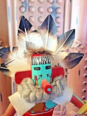 Delicate Vintage Navajo Wood Hand Carved Painted Kachina Morning Singer 15 1/2""