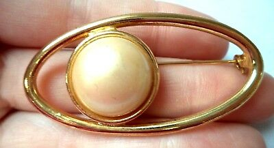 "Stunning Vintage Estate Faux Pearl Gold Tone Abstract 2"" Brooch!!!! 9652H"