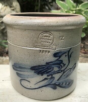 Vintage 1990 Rowe Pottery Works Salt Glaze Crock With Blue Bird Design