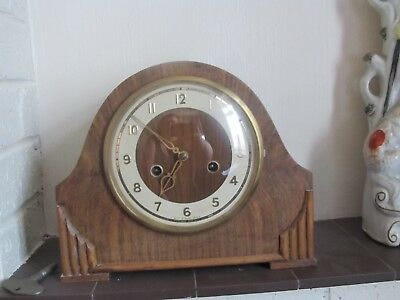 Genuine Vintage Smith Enfield Mantel Clock 27cms Wide RARE Fully Working + Key