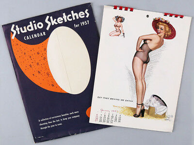 1957 T.N. Thompson Complete 12-Month Spiral Bound Pin-Up Calendar w/ Envelope