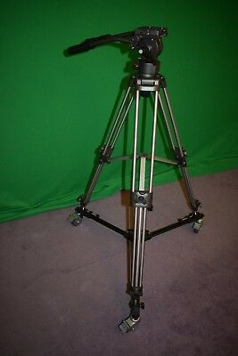 Ravelli AVTP Professional 75 mm Video Camera Tripod, Fluid Head and Wheel Dolly