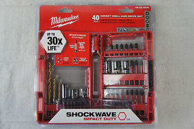 Milwaukee 48-32-4006 40 Pc Impact Drill & Drive Bit Set Shockwave Red Helix New