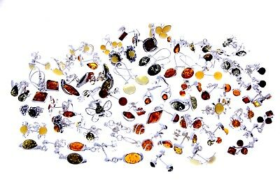 WHOLESALE JOB LOT 50 Baltic Amber & 925 Solid Sterling Sterling Silver EARRINGS
