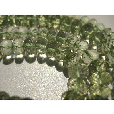 """10"""" Strand Green Amethyst Rondelles, Micro Faceted Amethyst Rondelle Beads"""