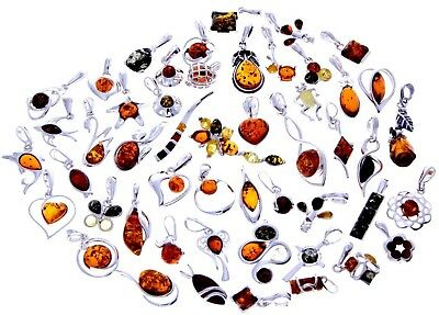 WHOLESALE JOB LOT 50 Baltic Amber & 925 Solid Sterling Sterling Silver PENDANTS