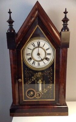 Antique Working Ansonia New York Cathedral Gothic Clock