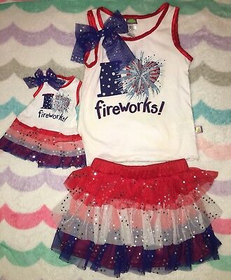 Dollie & Me I Love Fireworks 4th of July Outfit Girls 4 Doll Dress
