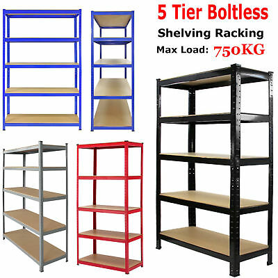 5 Tier Industrial Boltless Heavy Duty Racking Garage Warehouse Metal Unit Shelf