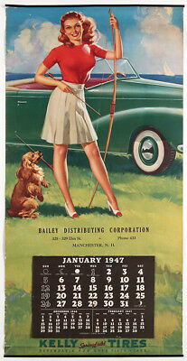 1947 Complete Kelly Tires Advertising Archery Pin-Up w/ Pup Calendar Bow & Arrow