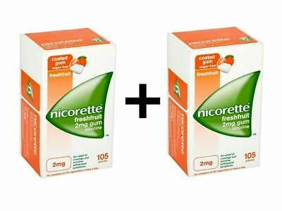 2 X 105 Nicorette Nicotine Gum 2mg Fresh Fruit - WORLDWIDE FREE SHIPPING
