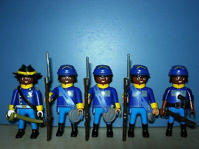 5 NORDSTAATEN SOLDATEN CIVIL WAR 1861-1865 vs. INDIANER WESTERN TOP PLAYMOBIL 2