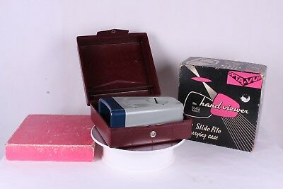 Opta-Vue 35mm Hand Viewer with Slide File Carrying Case in Box - Works