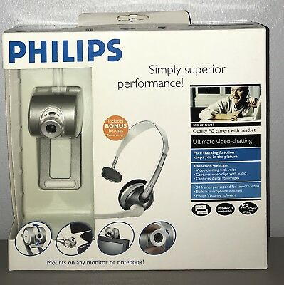 *NEW* Philips Quality PC Camera With Headset Video Chat Webcam SPC 701NC/37