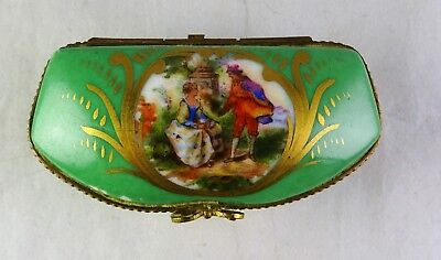 Sevres Antique Small Porcelain Courting Scene Trinket Box - Green/Gold