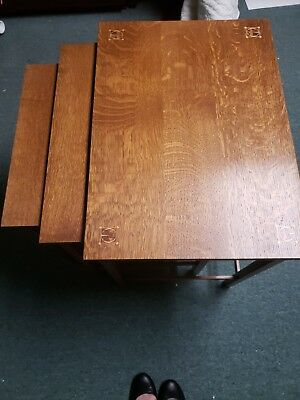 Harvey Ellis Stickley Oak Nesting Tables Excellent Collectors Condition