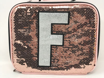 "Justice for Girls Rose Gold Sequin Sparkle Initial ""F"" Lunch Box NWT!"