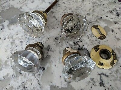 Vintage Clear Glass Door Knobs - 12 Point