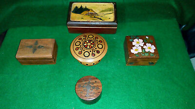 Job Lot Of 5 Vintage Wooden Lidded Trinket Boxes - Inlaid/painted/carved  Treen