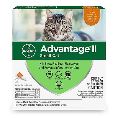 Bayer Advantage II for Small Cats 5-9 Lbs, Two Doses,2 Month Supply, New Release