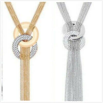 Women's Crystal Tassel Rhinestone Silver Gold Plated Long Chain Pendant Necklace