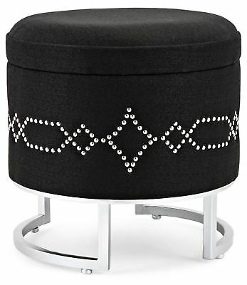 Super Black Round Storage Ottoman Silver Brad Accents Circular Squirreltailoven Fun Painted Chair Ideas Images Squirreltailovenorg