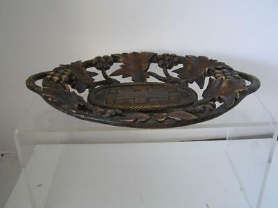 """Antique detailed Wood Carved Grape Leaf Bowl Tray Dish 11.5"""" x 8"""""""