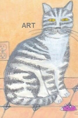 Grey Tabby Catnot ACEO 4 x 6 print of originalcolored pencil drawingblk white